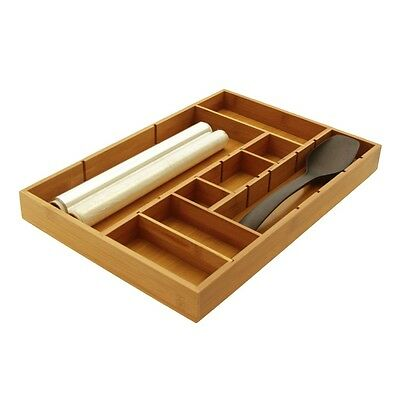 Bamboo Adjustable Drawer Inserts Organiser Kitchen Cutlery Flatware Junk Tray