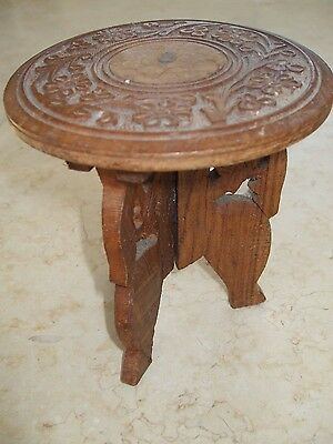 Beautiful Vintage Hand Carved Small Foldable Wooden Decorative Table Indian