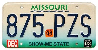 """Missouri """"Show Me State"""" 2003 License Plate 875-PZS for Man Cave, Garage, Bar"""