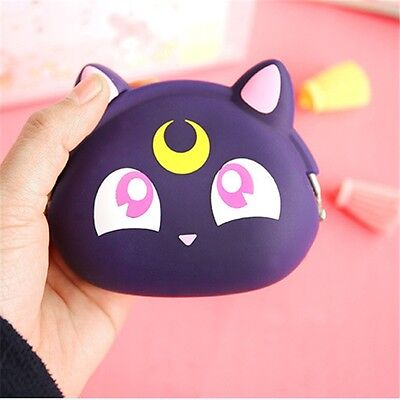 Anime Sailor Moon Luna Silicone Purse Wallet Coin Purse Holder Mini Bag