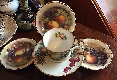 Antique fruit series fine china England tea cup saucer & 3 other dishes