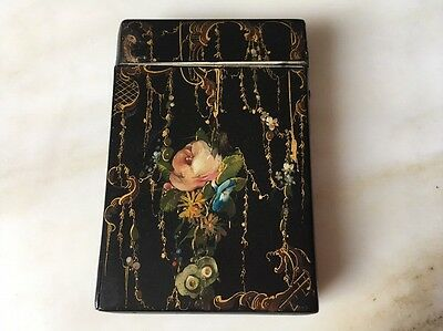 Antique Japanned Hand Painted Victorian Cigar Card Case Vintage Paper Mache