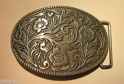 Floral design pattern Western Rodeo Cowboy Oval Belt Buckle detailed 3d finish