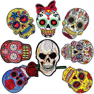 8 Skull Gothic Punk Sew Embroidery Iron On Patch Badge Clothes Fabric Applique