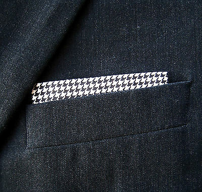 SUPERNOVA Black White Dogtooth Straight Top Pocket Handkerchief Mod Ska 2 Tone