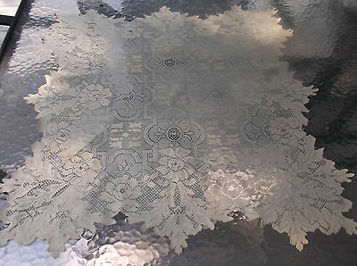 """LOVELY ECRU SQUARE LACE TABLE TOPPER-28.5"""" x 29"""""""