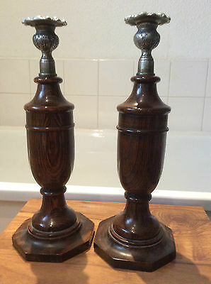 """vintage pair of 1930's solid oak  candlesticks  Ye Olde England style ~ 12"""" tall"""