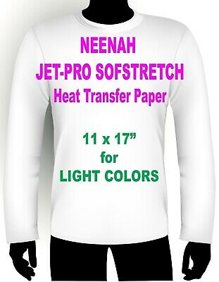 "INKJET IRON ON HEAT TRANSFER PAPER NEENAH JETPRO SOFSTRETCH 11 x 17"" - 100 PK"