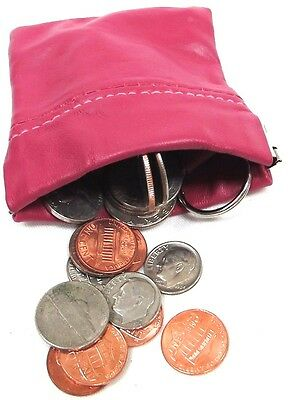 3pc Lot Soft Lambskin Leather Squeeze Open Coin Pouch w/Key Ring 3 Mix Color