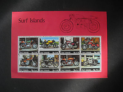 Stamps Surf Island Motor Cycles x 8 on sheet.