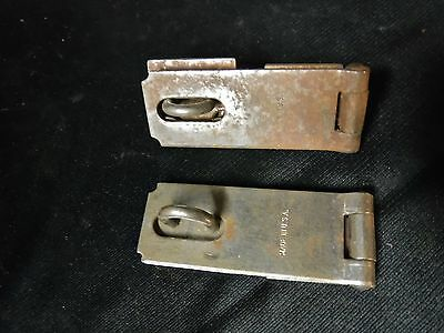MATCHING PAIR Vintage Antique Hinged Hasp Latch Lock Gate Door Barn w Keeper