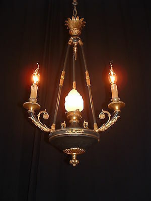 Antique French solid Bronze 3 arm 4 light chandelier early 1900's Empire style