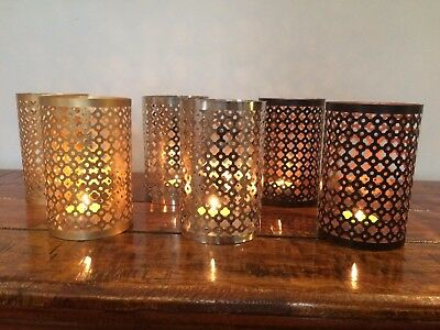 PAIR OF TEA LIGHT CANDLE HOLDERS T LIGHT NICKEL,GOLD or COPPER BLACK FINISH TL-7