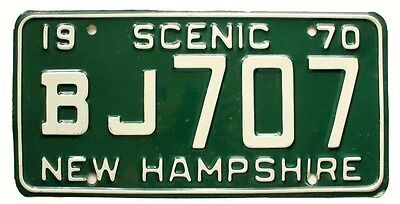 "Vintage Green New Hampshire 1970 ""Scenic"" License Plate BJ 707, Man Cave, Garage"