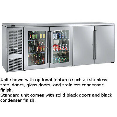 """Perlick BBSN92 92"""" Narrow Door Four-Section Refrigerated Back Bar Cabinet"""