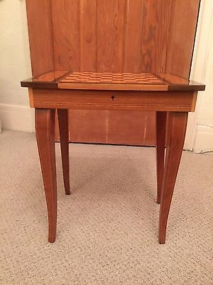 Vintage Italian marquetry inlaid musical sewing jewellery games box side table