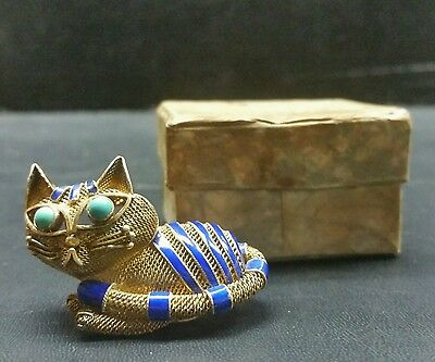 Vintage Chinese Turquoise Enamel Gilted Silver Mesh Cat Pin Brooch