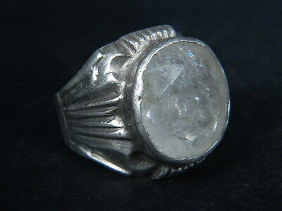 "Antique Post Medieval Silver Ring With Nice Stone 1800 Ad  ""tc427"