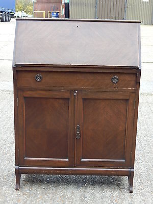 Antique mahogany bureau cabinet with writing desk drawer & double door cupboard