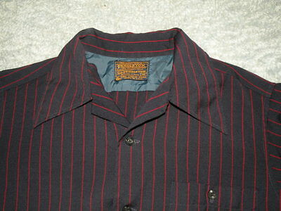 vtg 60s SIR PENDLETON Blue Red Striped Loop Collar Wool Button Up Shirt sz S