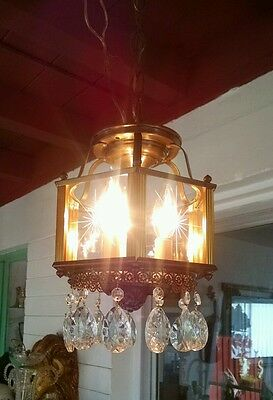 Vintage hanging Foyer/Hall light Brass and Etched glass panes, real crystals.