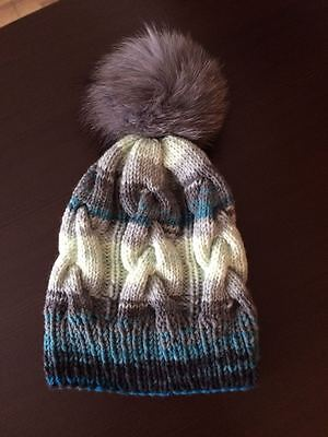 f67f92f9475 Hand Made Knit Woollen Hat with Fox Pompom - Women Multi-Colour Winter Fall