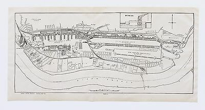 1921 London Royal Victoria Dock England Map Royal Albert Docklands Original RARE
