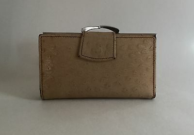 Vintage 1970s Ostrich Embossed Calf Leather Coin Purse Wallet Leather Lining