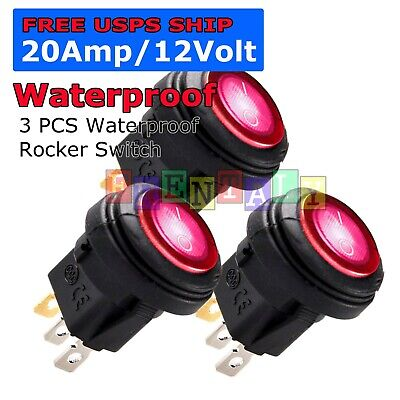 3X M1 Red LED Light 12V 20A Car Auto Boat Round Rocker WATERPROOF TOGGLE SWITCH