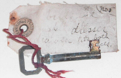 "Antique Key  2 1/8"" Barrel w/ Paper Tag Dennison L  (D)"