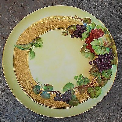 """Antique  """"GDA France"""" Porcelain Hand Painted Plate Grapes Signed F. Evers"""