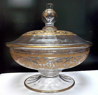 19th Century BEAUTIFUL French Baccarat Crystal Gold Encrusted Covered Candy Bowl