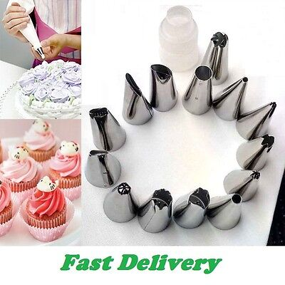 24 Icing Piping Cake Cupcake Decorating Cotton Bag & Nozzle Set Sugarcraft Cup