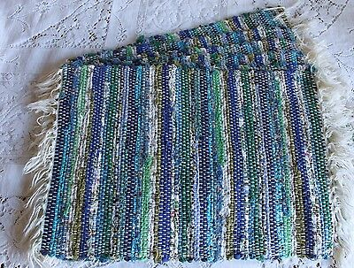 Set 6 Vintage Blue & Green Hand Woven Placemats Rag Rug Fringed Blues Greens