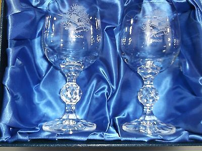 "BRIDE & GROOM ""Pair"" of Cut-Glass Toasting Glasses"