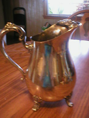 Vintage 4 Footed Silver Plated Water Pitcher With Ice Lip
