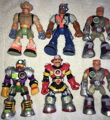 6 Fisher-Price/Mattel/Hasbro RESCUE HEROES Action Figures POLICE-Fire)