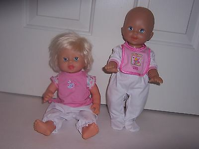"2 Fisher Price ""little Mommy"" Baby Dolls Lot~Drink & Wet & Talking Baby ""achoo"""