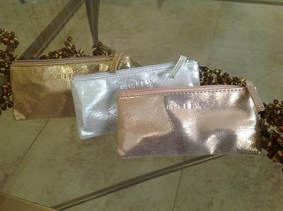 Mally Small Zippered Cosmetics Bag  Make up Bag Silver/Rose Gold/Gold YOU CHOOSE