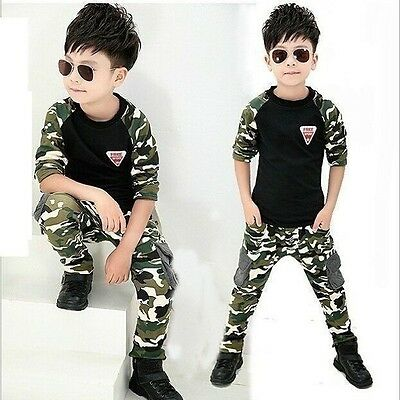 Boys Casual 2Pcs Camo autumn winter Long Sleeve Casual Kids Clothes Outfit Set