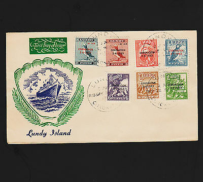 OPC 1953 Great Britain Lundy Island Coronation FDC Unaddressed