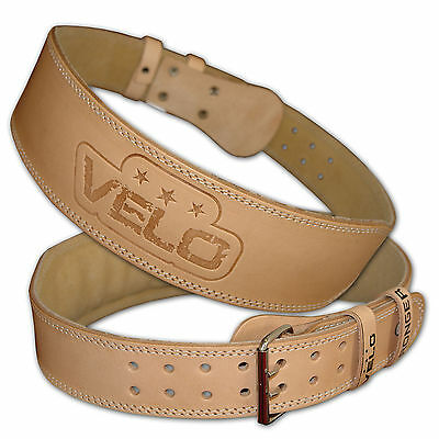 VELO Weight Lifting 4 Leather Belt Back Support Strap Training Fitness Gym Power