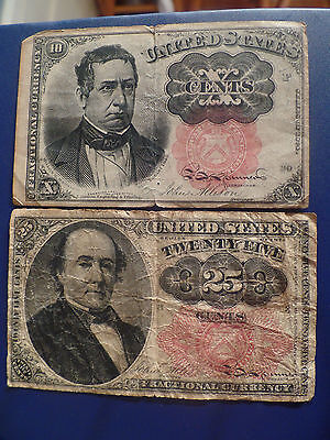 US 10 Cent & 25 Cent Fractional Currency Lot