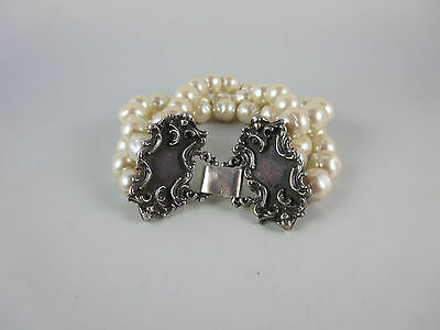 Sterling Silver Three Strand Faux Pearl Vintage Bracelet 7.5""