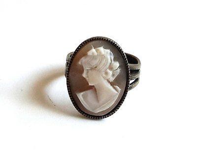 Vintage Cameo Ring Carved Shell Gold Brass Tone Adjustable Size Band Art Deco