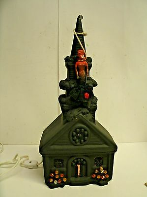 "Haunted House Halloween Lighted Ceramic Decoration w/ Hanging barbie 14"" tall"