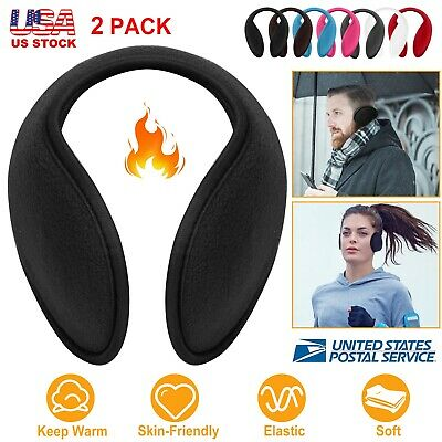 2 Pairs Ear Muffs Winter Ear Warmers Fleece Behind Head Band Unisex 8 Colors