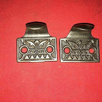 2 large Window Sash lifts drawer pulls cast iron fancy old antique restored