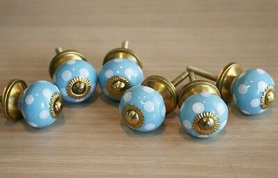 Lot Of 6 Vintage Style Blue Ceramic & Brass Spigot Drawer Pulls Knobs Handles