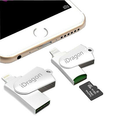 Lightning USB2.0 Flash Drive Metal Memorry TF Card Reader For iPhone 5 6 7 Plus